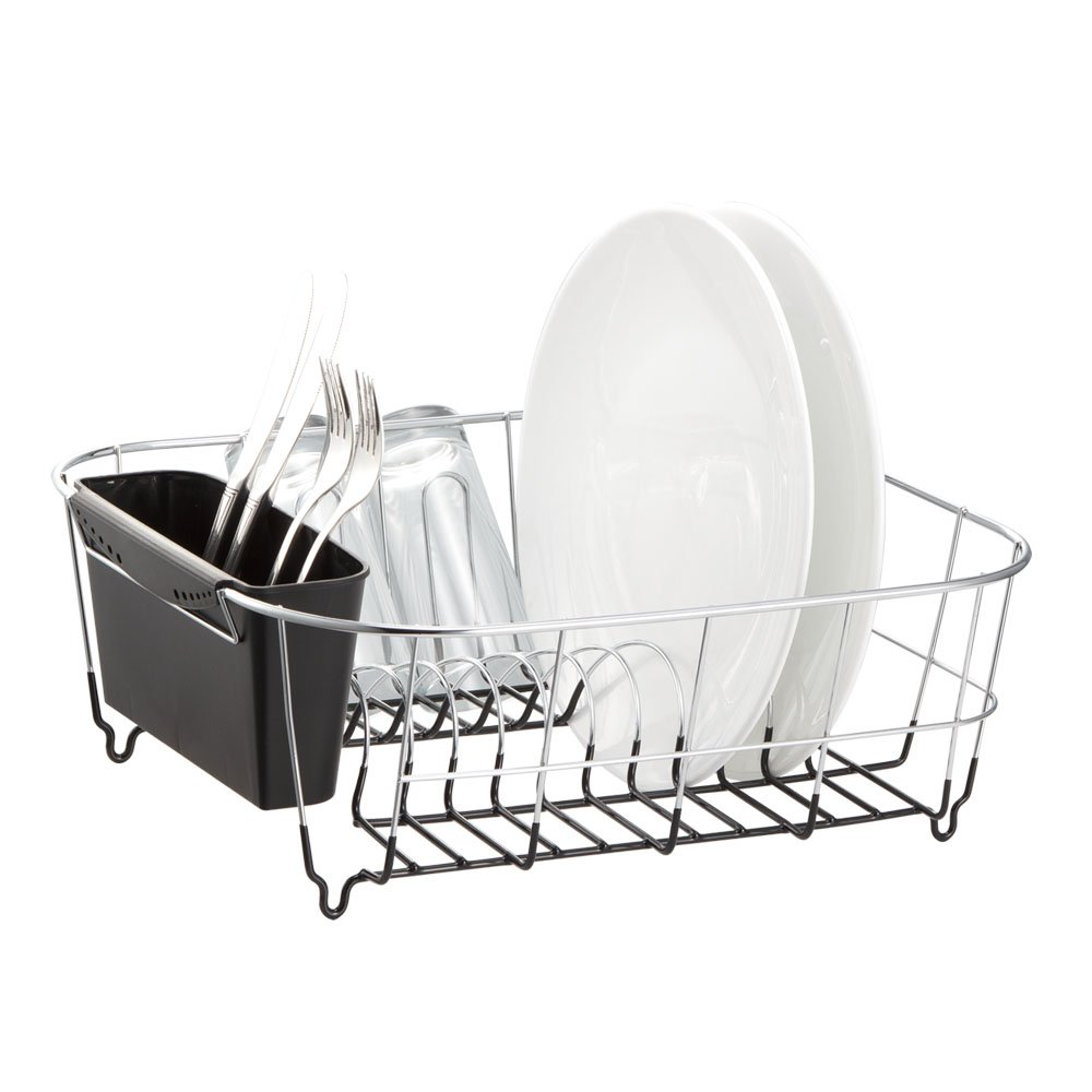 Neat-O-Deluxe-Chrome-plated-Steel-Small-Dish-Drainers-Black-