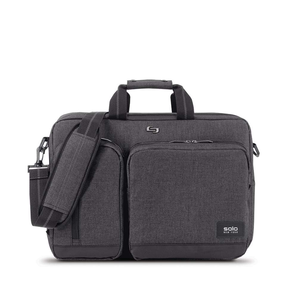 Solo Duane Convertible Briefcase Fits Up to A 15 6 Inch Laptop Converts to Backpack Briefcase or Messenger Bag Laptop Bag for Men or Women  Grey