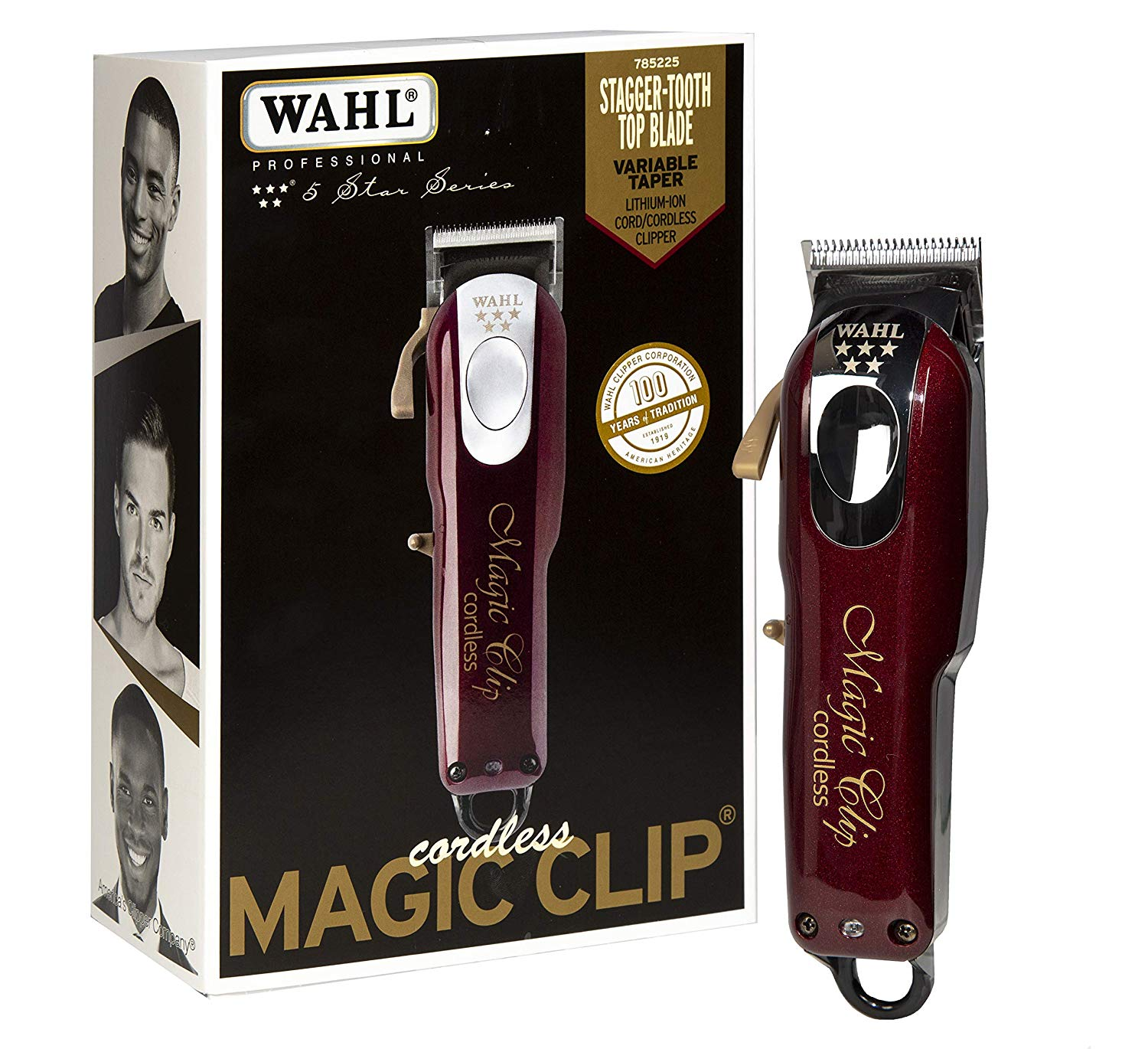 Wahl Professional 5 Star Cord Cordless Magic Clip 8148  Great for Barbers  Stylists  Precision Cordless Fade Clipper Loaded with Features  90 Minute Run Time