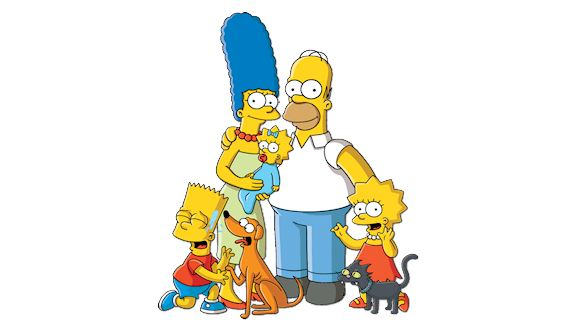 Illustration of the Simpsons family.