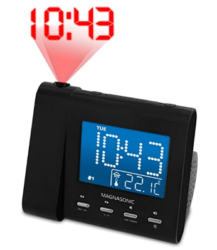 Magnasonic Projection Alarm Clock with AM/FM Radio, Battery Backup, Auto Time Set, Dual Alarm & 3.5mm Audio Input (EAAC601)