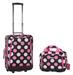 2 Piece Pretty Girls Polka Dot Themed Luggage Set,Pink Dots Rolling Carry On Bag