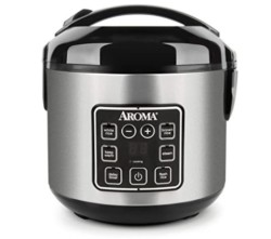 Aroma Housewares 2-8-Cups (Cooked) Digital Cool-Touch Rice Grain Cooker and Food Steamer, Stainless, 8 Cup, Silver