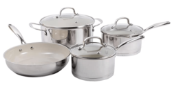 Gibson Cuisine Gleaming 7 Piece Cookware Set with Ceramic Nonstick Interior, Stainless Steel