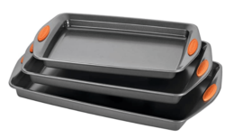 Rachael Ray Nonstick Bakeware Set with Grips, Nonstick Cookie Sheets / Baking Sheets - 3 Piece, Gray with Orange Grips