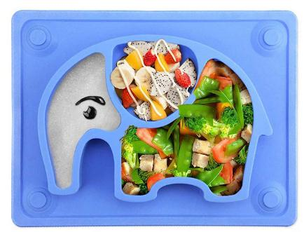 elephant silicone toddler plate by SILIVO